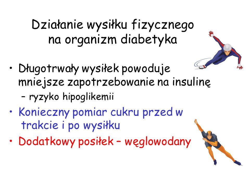 Działanie wysiłku fizycznego na organizm diabetyka Długotrwały wysiłek powoduje mniejsze zapotrzebowanie na insulinę –ryzyko hipoglikemii Konieczny po