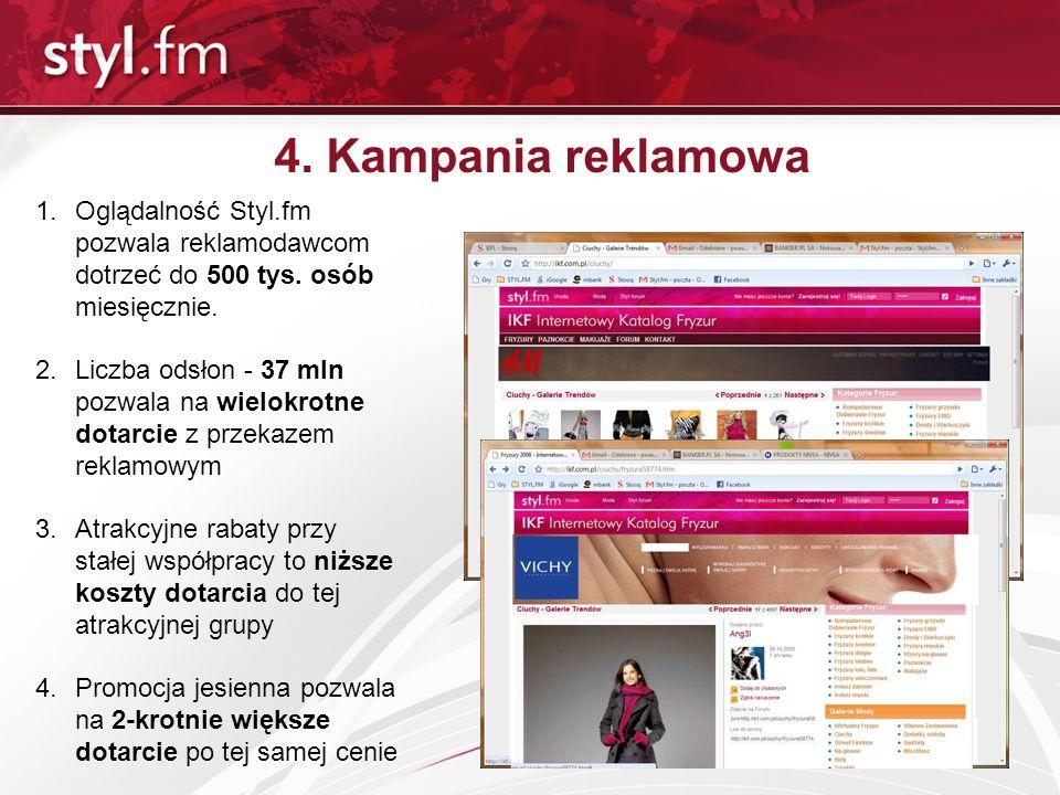 4. Kampania reklamowa 1.Oglądalność Styl.fm pozwala reklamodawcom dotrzeć do 500 tys. osób miesięcznie. 2.Liczba odsłon - 37 mln pozwala na wielokrotn