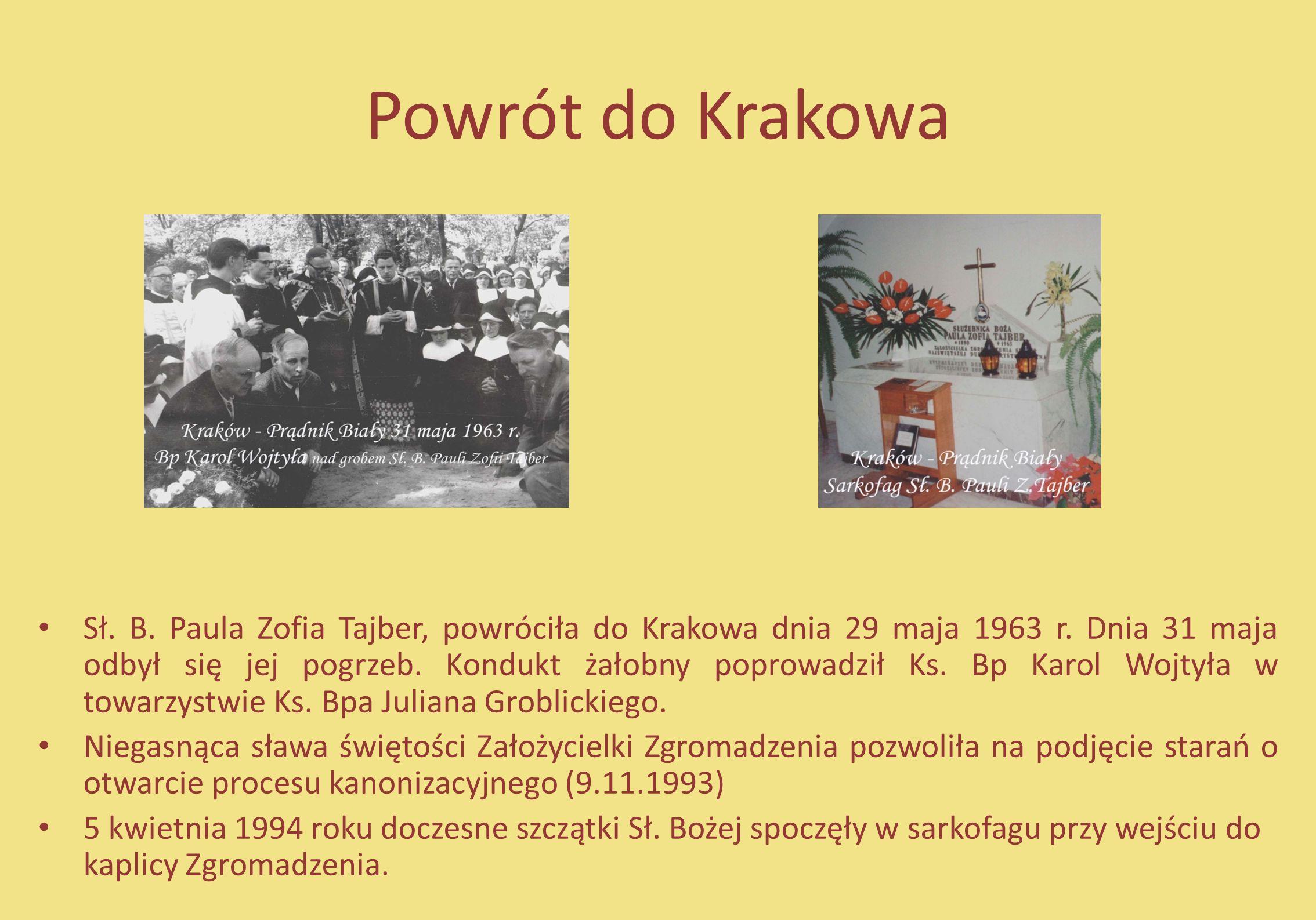 Powrót do Krakowa Sł. B. Paula Zofia Tajber, powróciła do Krakowa dnia 29 maja 1963 r. Dnia 31 maja odbył się jej pogrzeb. Kondukt żałobny poprowadził