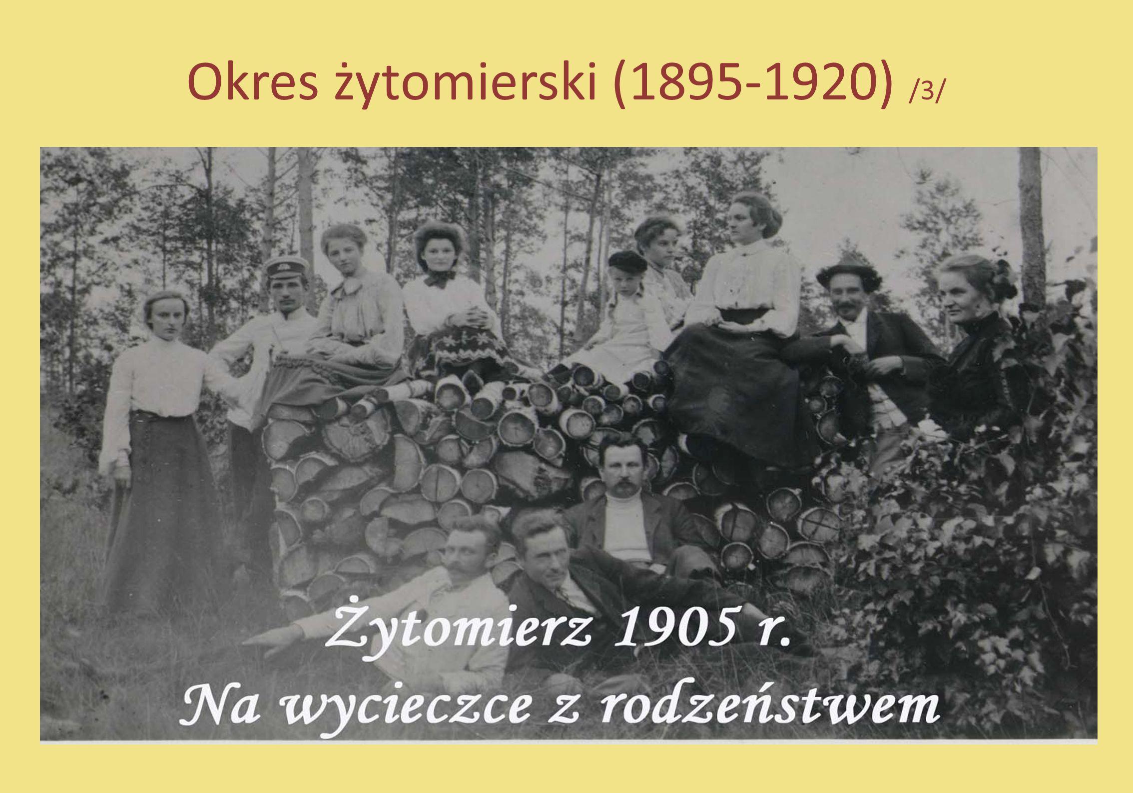 Okres żytomierski (1895-1920) /4/ Po okresie gimnazjalnym Zofia kształci się w konserwatoriach muzycznych Warszawy, Berlina i Kijowa.