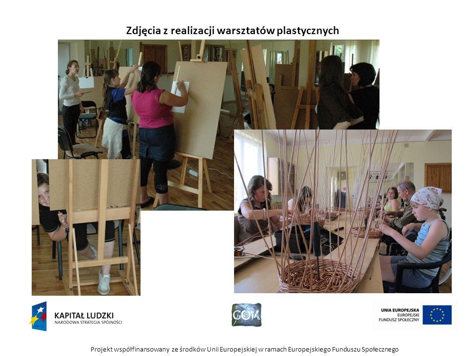 Projekt współfinansowany ze środków Unii Europejskiej w ramach Europejskiego Funduszu Społecznego Zdjęcia z realizacji warsztatów plastycznych