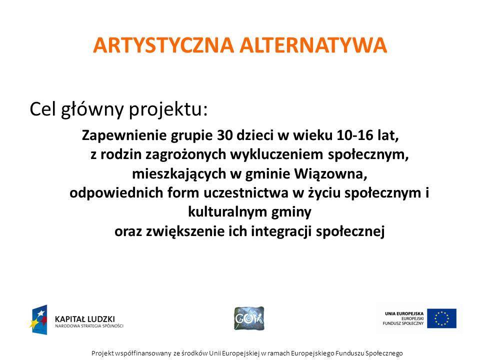 Projekt współfinansowany ze środków Unii Europejskiej w ramach Europejskiego Funduszu Społecznego ARTYSTYCZNA ALTERNATYWA Cel główny projektu: Zapewni