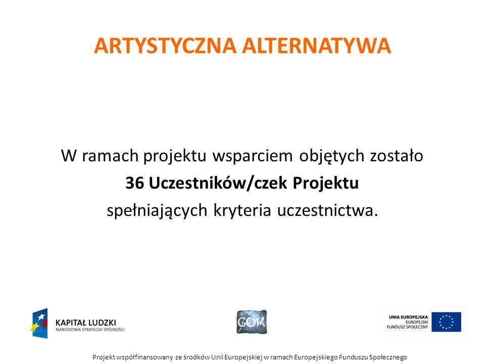 Projekt współfinansowany ze środków Unii Europejskiej w ramach Europejskiego Funduszu Społecznego ARTYSTYCZNA ALTERNATYWA W ramach projektu wsparciem objętych zostało 36 Uczestników/czek Projektu spełniających kryteria uczestnictwa.