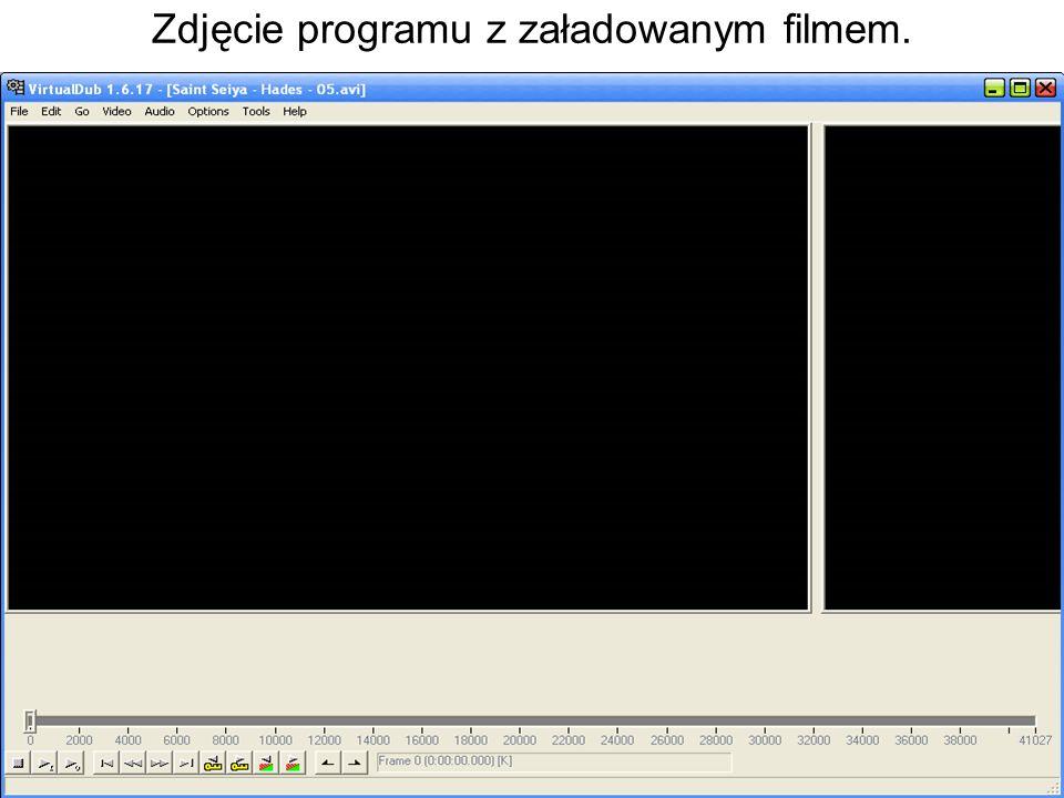 Zdjęcie programu z załadowanym filmem.