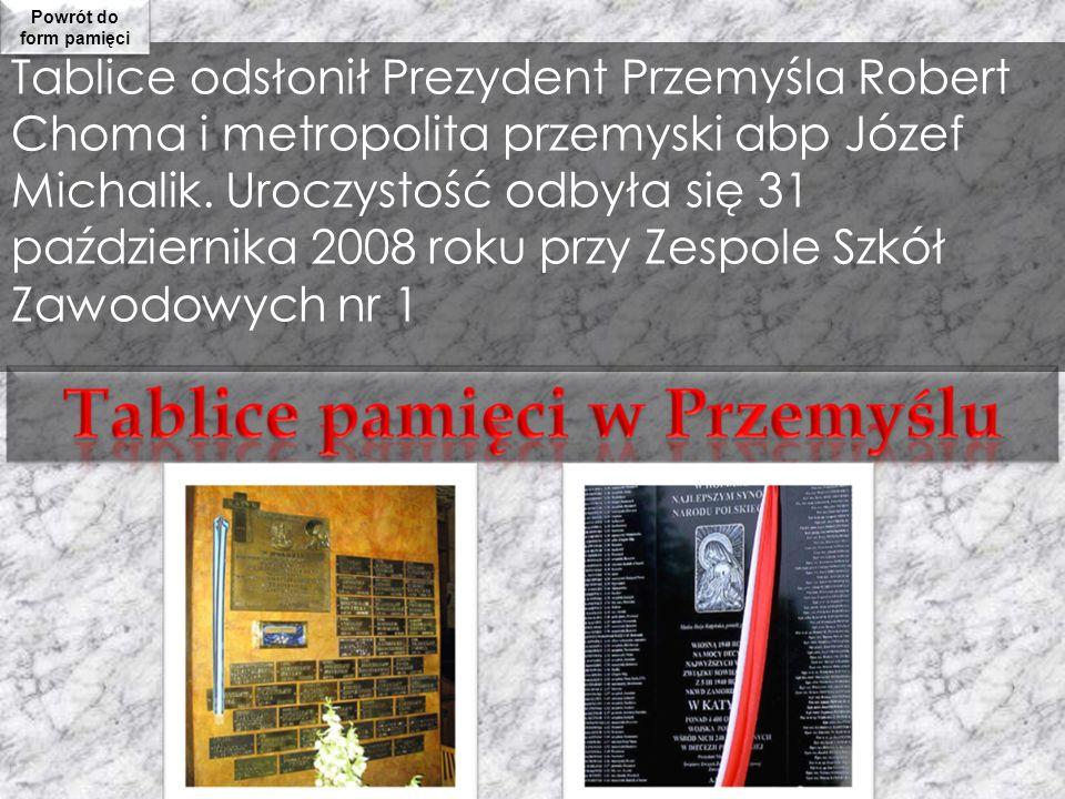 Tablice odsłonił Prezydent Przemyśla Robert Choma i metropolita przemyski abp Józef Michalik. Uroczystość odbyła się 31 października 2008 roku przy Ze