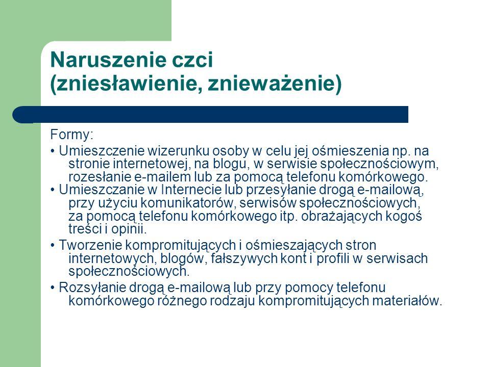 Naruszenie czci (zniesławienie, znieważenie) Formy: Umieszczenie wizerunku osoby w celu jej ośmieszenia np. na stronie internetowej, na blogu, w serwi