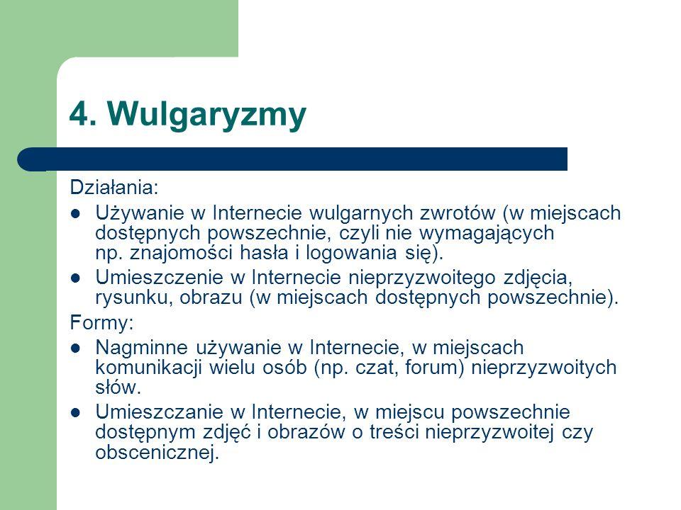 4. Wulgaryzmy Działania: Używanie w Internecie wulgarnych zwrotów (w miejscach dostępnych powszechnie, czyli nie wymagających np. znajomości hasła i l