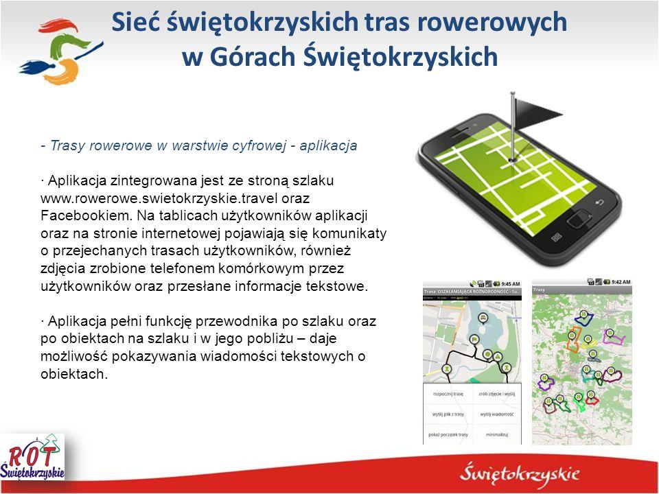 Sieć świętokrzyskich tras rowerowych w Górach Świętokrzyskich - Trasy rowerowe w warstwie cyfrowej - aplikacja · Aplikacja zintegrowana jest ze stroną