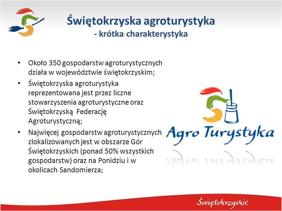 Świętokrzyska agroturystyka - krótka charakterystyka Większość gospodarstw agroturystycznych nie posiada własnej oferty produktowej ani indywidualnego profilu działalności, poza ofertą noclegów i wyżywienia; Widoczna jest sezonowość pobytów, największy zainteresowanie pobytami w gospodarstwach agroturystycznych widoczne jest podczas długich weekendów; Dominują krótkie pobyty; Wśród gości dużą grupę stanowią stali klienci, nowi klienci pozyskiwani są poprzez rekomendację innych oraz Internet; Dominującą grupę stanowią turyści krajowi.