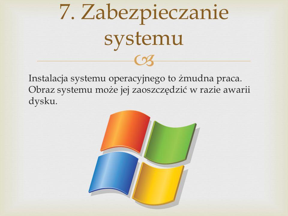 Instalacja systemu operacyjnego to żmudna praca. Obraz systemu może jej zaoszczędzić w razie awarii dysku. 7. Zabezpieczanie systemu