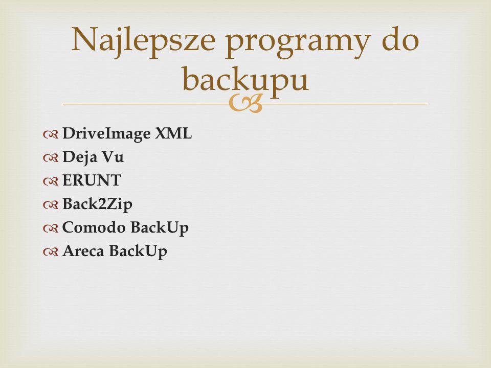 DriveImage XML Deja Vu ERUNT Back2Zip Comodo BackUp Areca BackUp Najlepsze programy do backupu