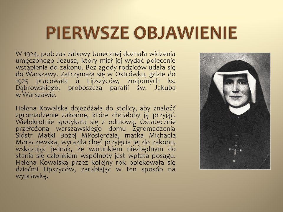 W 1924, podczas zabawy tanecznej doznała widzenia umęczonego Jezusa, który miał jej wydać polecenie wstąpienia do zakonu. Bez zgody rodziców udała się