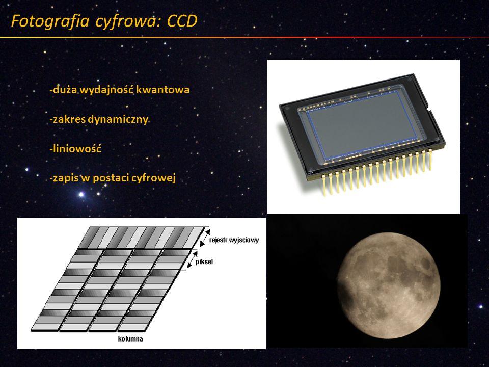Fotografia cyfrowa: CCD -duża wydajność kwantowa -zakres dynamiczny -liniowość -zapis w postaci cyfrowej