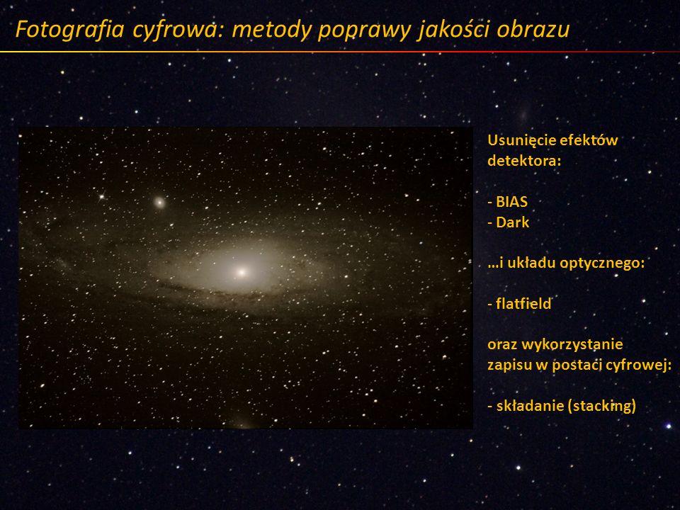 Fotografia cyfrowa: metody poprawy jakości obrazu Usunięcie efektów detektora: - BIAS - Dark …i układu optycznego: - flatfield oraz wykorzystanie zapi
