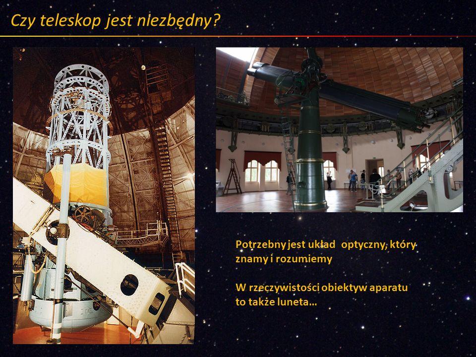 Czy teleskop jest niezbędny? Potrzebny jest układ optyczny, który znamy i rozumiemy W rzeczywistości obiektyw aparatu to także luneta…
