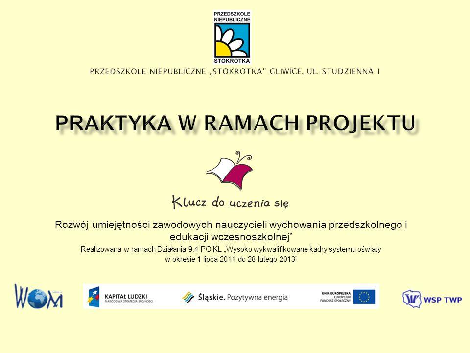 Rozwój umiejętności zawodowych nauczycieli wychowania przedszkolnego i edukacji wczesnoszkolnej Realizowana w ramach Działania 9.4 PO KL Wysoko wykwalifikowane kadry systemu oświaty w okresie 1 lipca 2011 do 28 lutego 2013