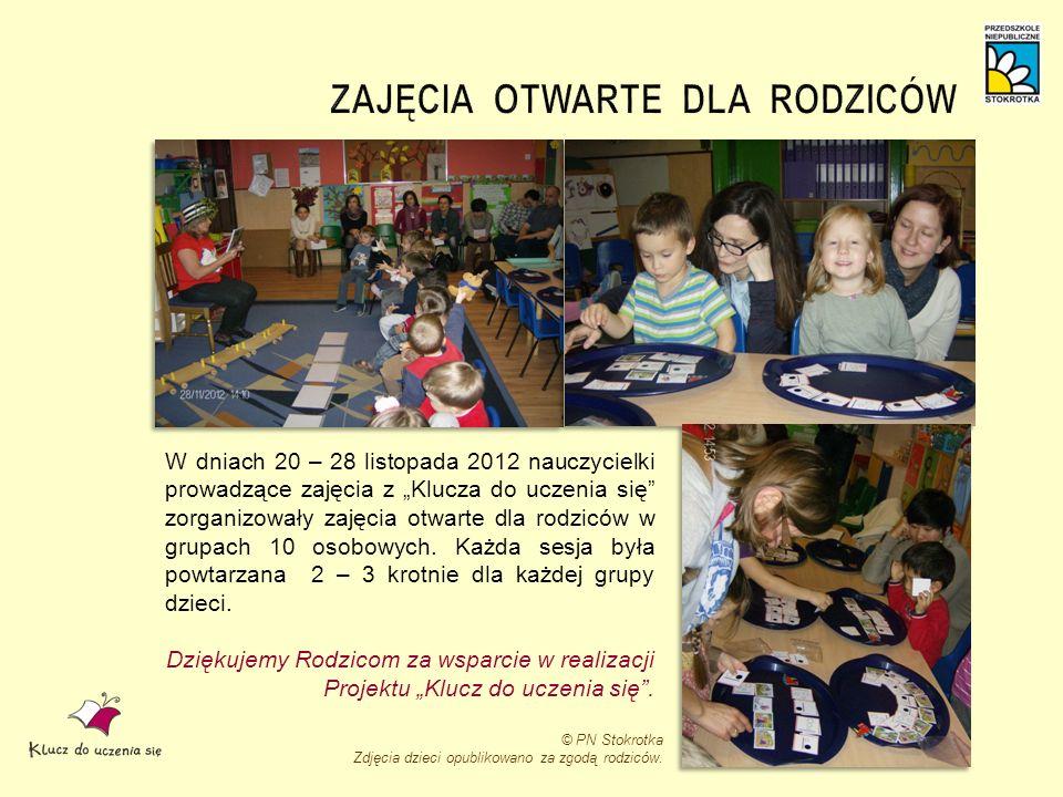W dniach 20 – 28 listopada 2012 nauczycielki prowadzące zajęcia z Klucza do uczenia się zorganizowały zajęcia otwarte dla rodziców w grupach 10 osobow
