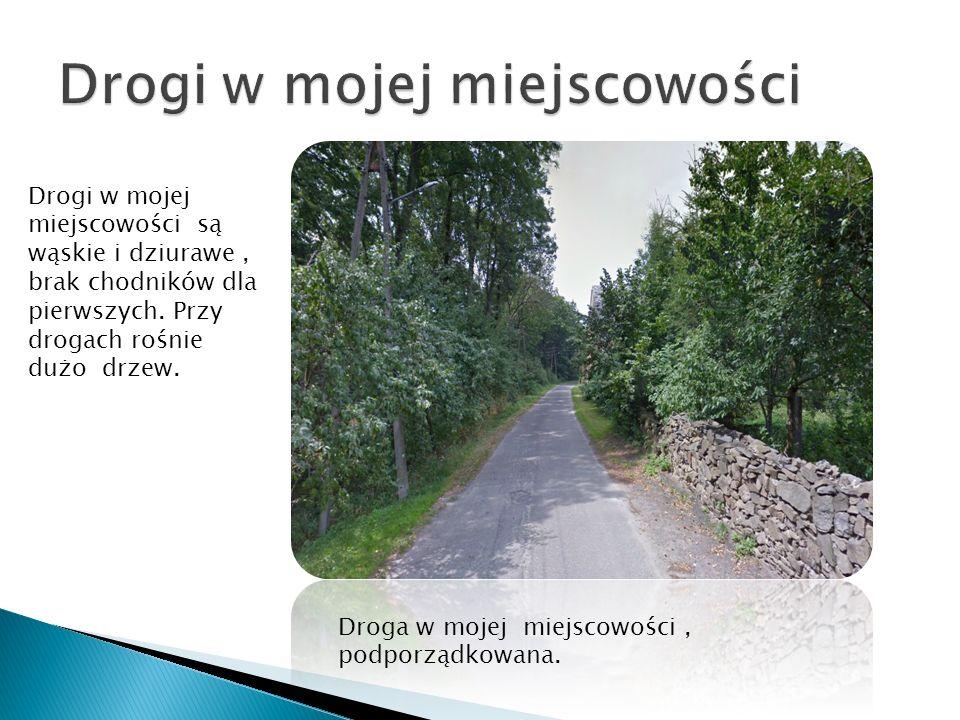 Drogi w mojej miejscowości są wąskie i dziurawe, brak chodników dla pierwszych. Przy drogach rośnie dużo drzew. Droga w mojej miejscowości, podporządk