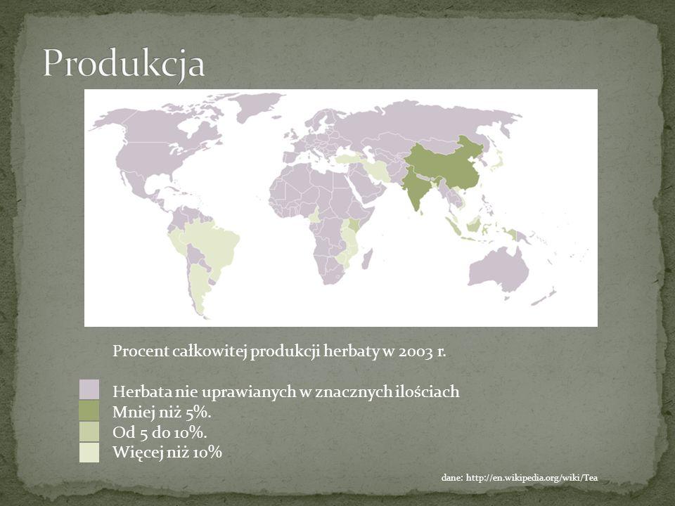 Procent całkowitej produkcji herbaty w 2003 r. Herbata nie uprawianych w znacznych ilościach Mniej niż 5%. Od 5 do 10%. Więcej niż 10% dane: http://en