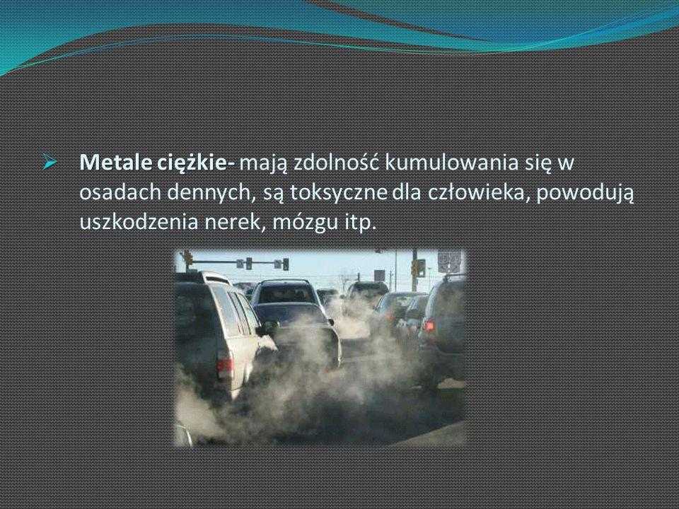 Metale ciężkie- Metale ciężkie- mają zdolność kumulowania się w osadach dennych, są toksyczne dla człowieka, powodują uszkodzenia nerek, mózgu itp.