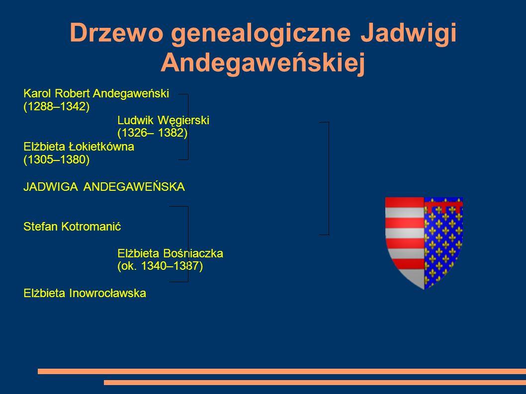 Drzewo genealogiczne Jadwigi Andegaweńskiej Karol Robert Andegaweński (1288–1342) Ludwik Węgierski (1326– 1382) Elżbieta Łokietkówna (1305–1380) JADWI