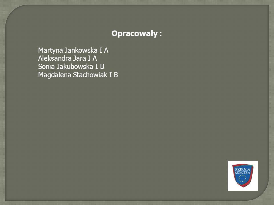 Opracowały : Martyna Jankowska I A Aleksandra Jara I A Sonia Jakubowska I B Magdalena Stachowiak I B