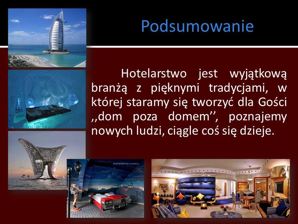Podsumowanie Hotelarstwo jest wyjątkową branżą z pięknymi tradycjami, w której staramy się tworzyć dla Gości,,dom poza domem, poznajemy nowych ludzi,