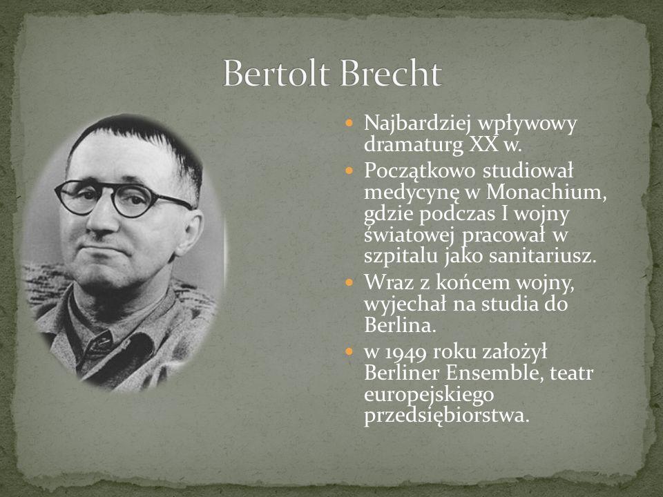 Najbardziej wpływowy dramaturg XX w. Początkowo studiował medycynę w Monachium, gdzie podczas I wojny światowej pracował w szpitalu jako sanitariusz.