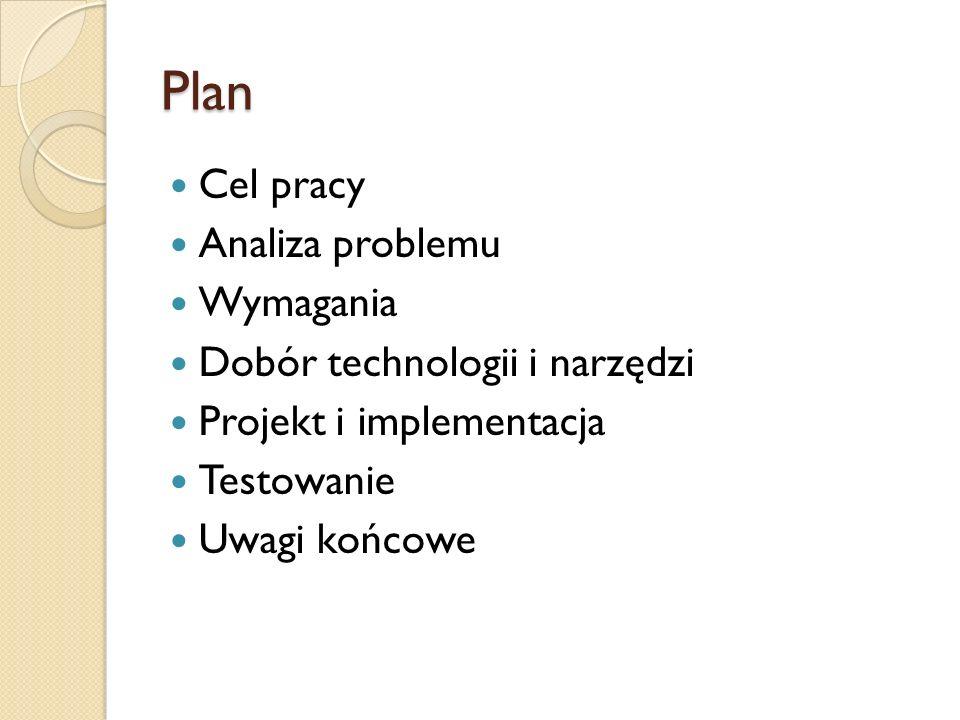 Plan Cel pracy Analiza problemu Wymagania Dobór technologii i narzędzi Projekt i implementacja Testowanie Uwagi końcowe