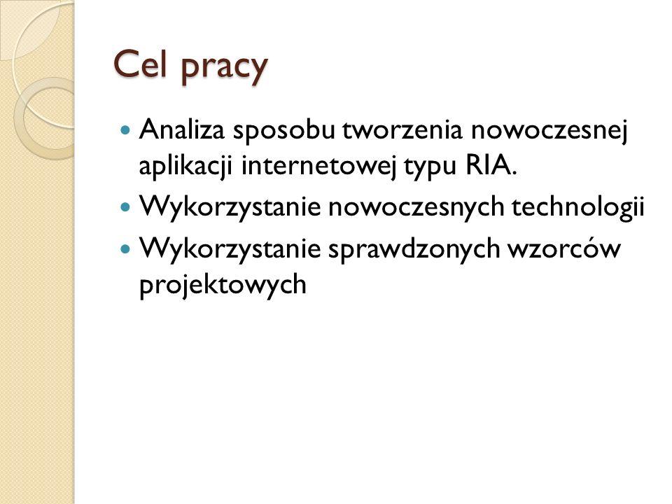 Cel pracy Analiza sposobu tworzenia nowoczesnej aplikacji internetowej typu RIA. Wykorzystanie nowoczesnych technologii Wykorzystanie sprawdzonych wzo