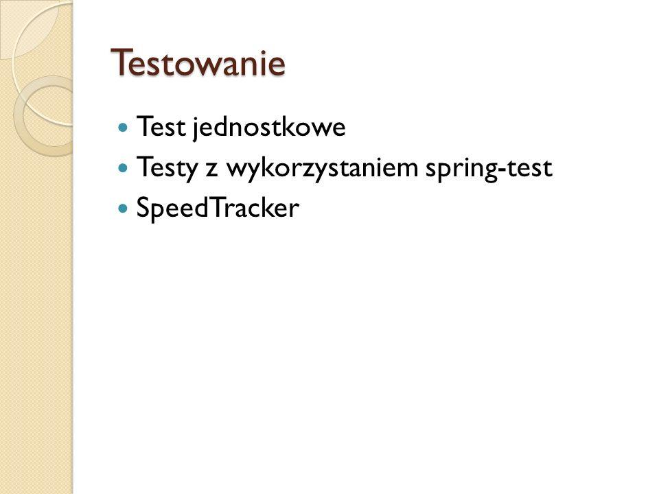 Testowanie Test jednostkowe Testy z wykorzystaniem spring-test SpeedTracker