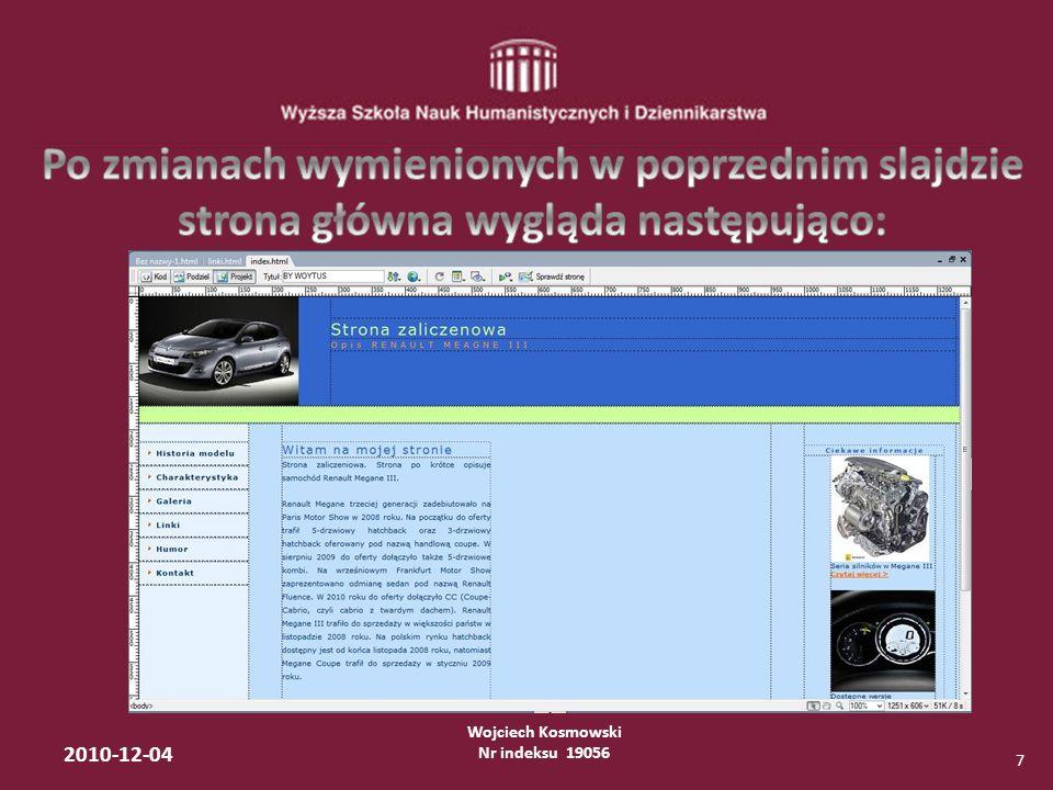 Wojciech Kosmowski Nr indeksu 19056 2010-12-04 7