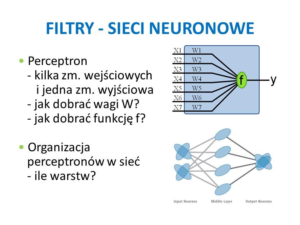FILTRY - SIECI NEURONOWE Perceptron - kilka zm. wejściowych i jedna zm. wyjściowa - jak dobrać wagi W? - jak dobrać funkcję f? Organizacja perceptronó