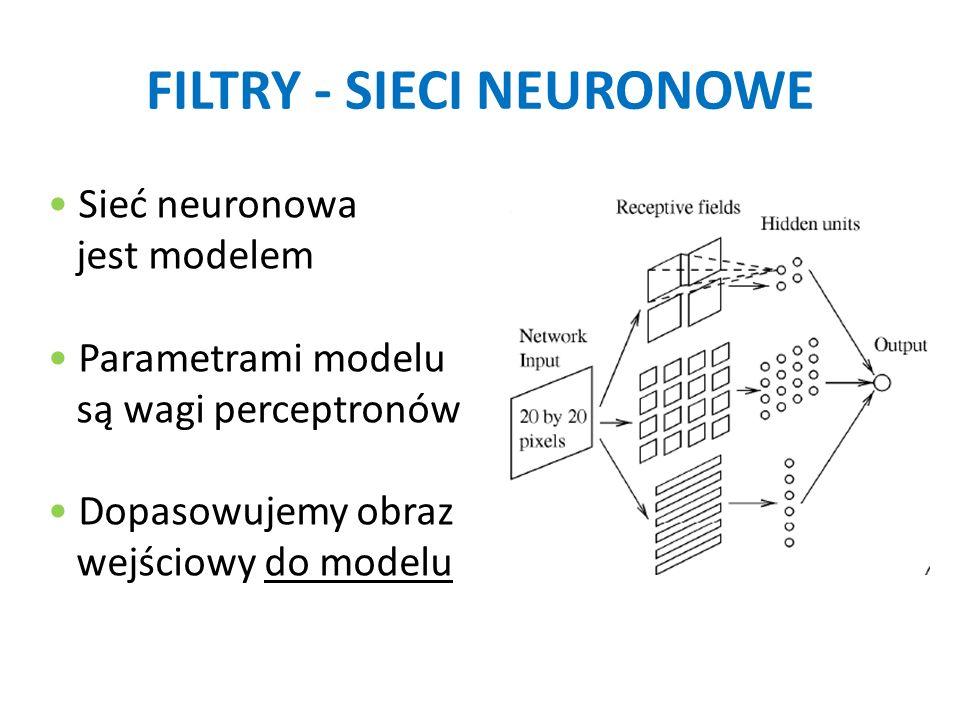 FILTRY - SIECI NEURONOWE Sieć neuronowa jest modelem Parametrami modelu są wagi perceptronów Dopasowujemy obraz wejściowy do modelu