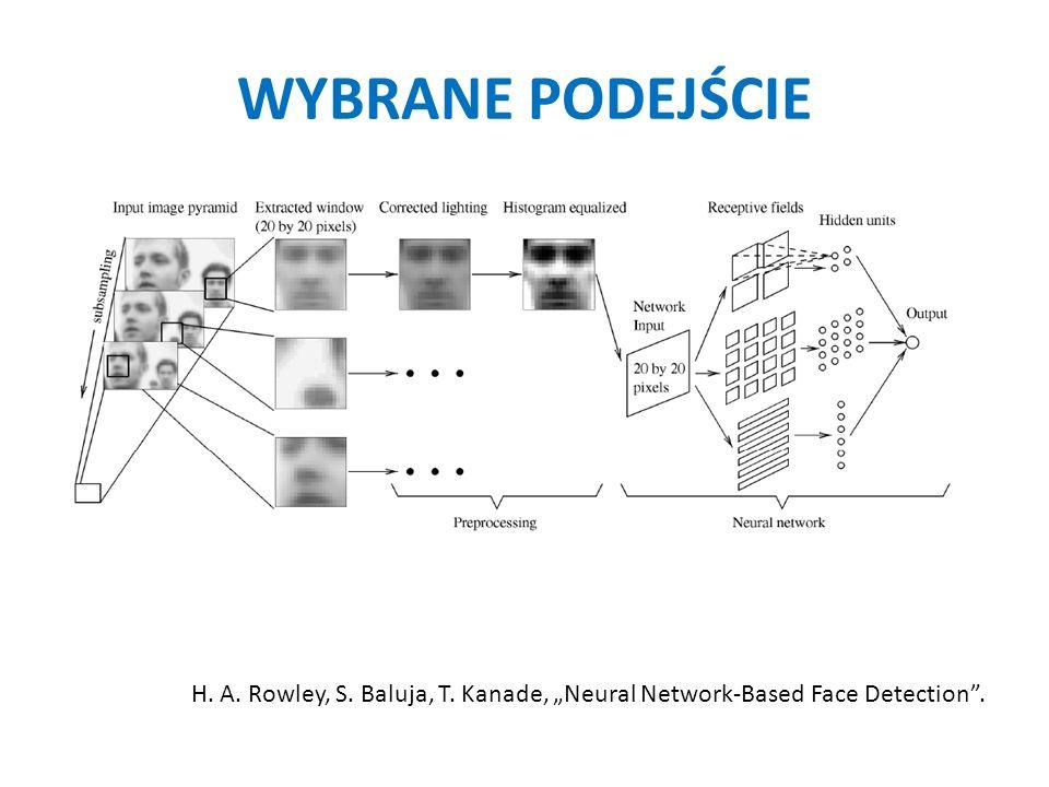 WYBRANE PODEJŚCIE H.A. Rowley, S. Baluja, T. Kanade, Neural Network-Based Face Detection.