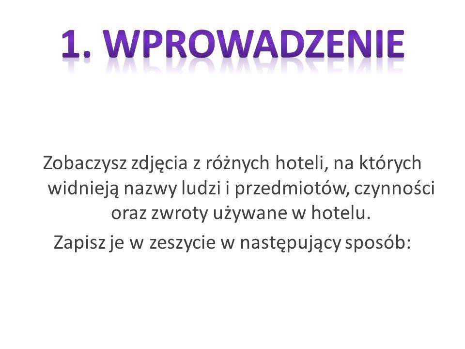 Zobaczysz zdjęcia z różnych hoteli, na których widnieją nazwy ludzi i przedmiotów, czynności oraz zwroty używane w hotelu.