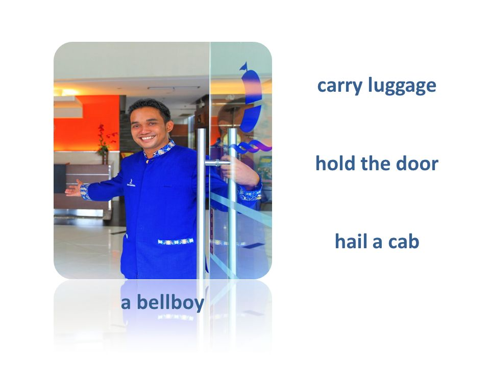 a bellboy carry luggage hold the door hail a cab