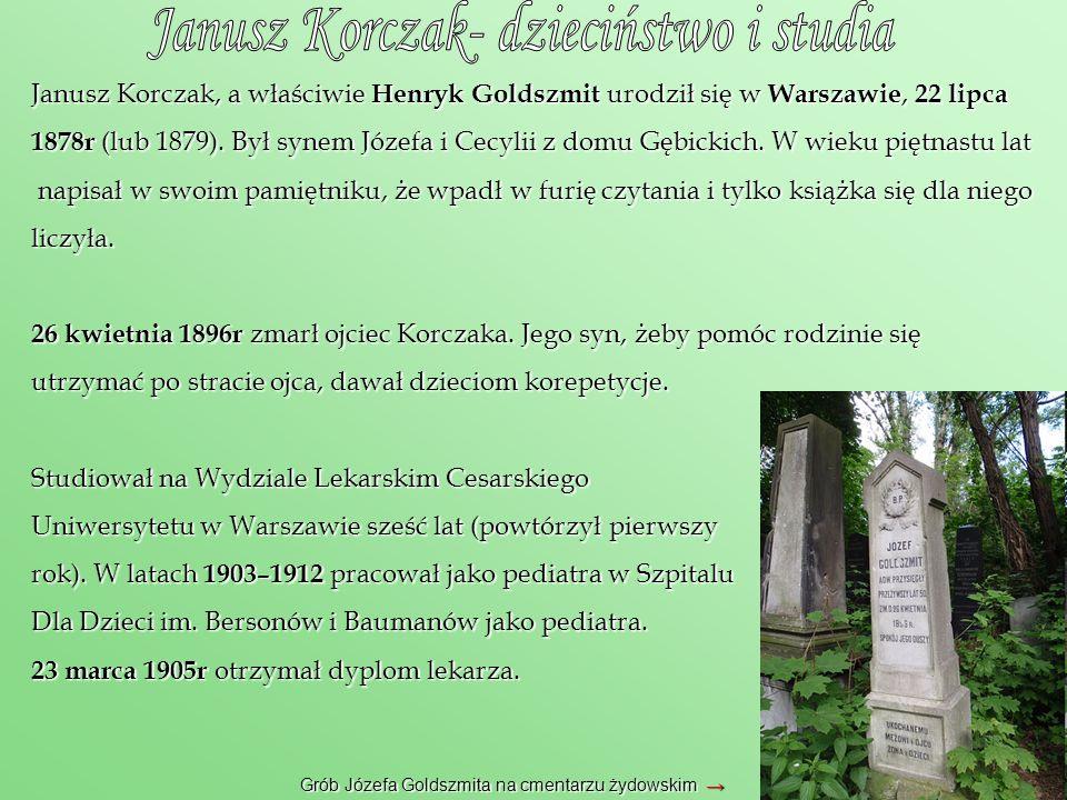 Janusz Korczak, a właściwie Henryk Goldszmit urodził się w Warszawie, 22 lipca 1878r (lub 1879). Był synem Józefa i Cecylii z domu Gębickich. W wieku