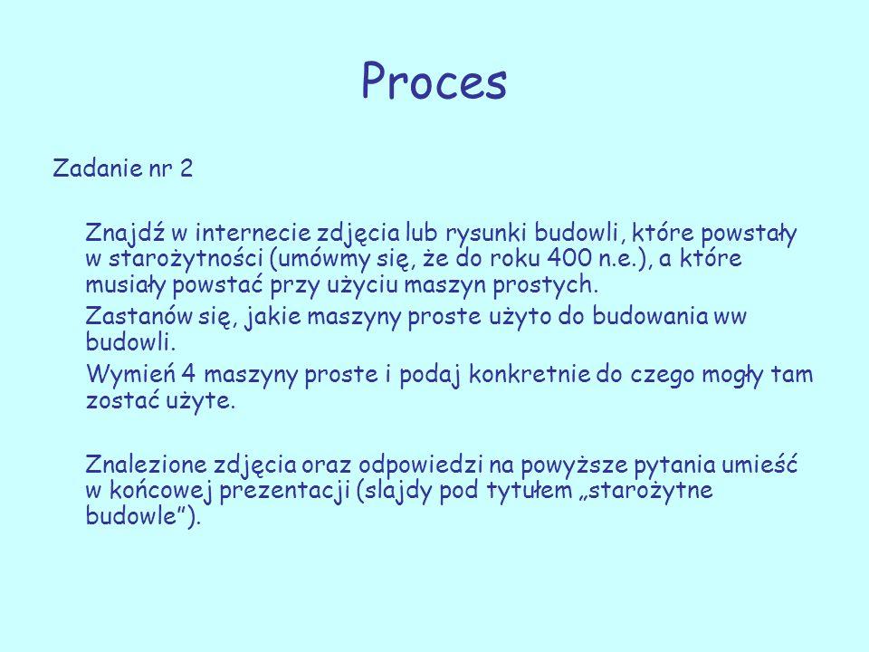 Proces Zadanie nr 2 Znajdź w internecie zdjęcia lub rysunki budowli, które powstały w starożytności (umówmy się, że do roku 400 n.e.), a które musiały