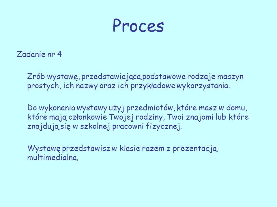 Proces Zadanie nr 4 Zrób wystawę, przedstawiającą podstawowe rodzaje maszyn prostych, ich nazwy oraz ich przykładowe wykorzystania. Do wykonania wysta