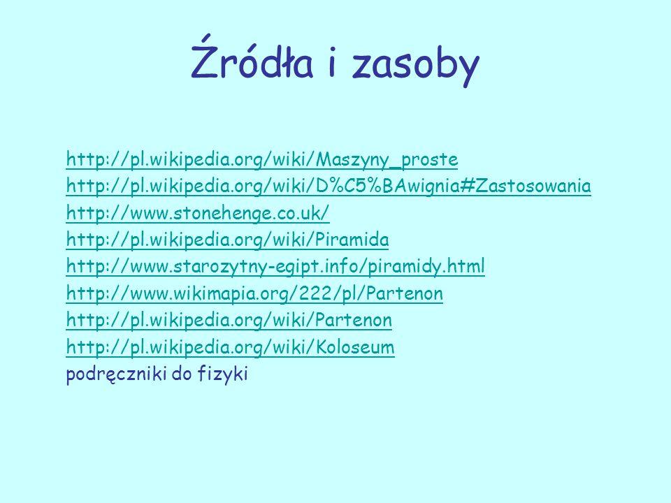 Źródła i zasoby http://pl.wikipedia.org/wiki/Maszyny_proste http://pl.wikipedia.org/wiki/D%C5%BAwignia#Zastosowania http://www.stonehenge.co.uk/ http: