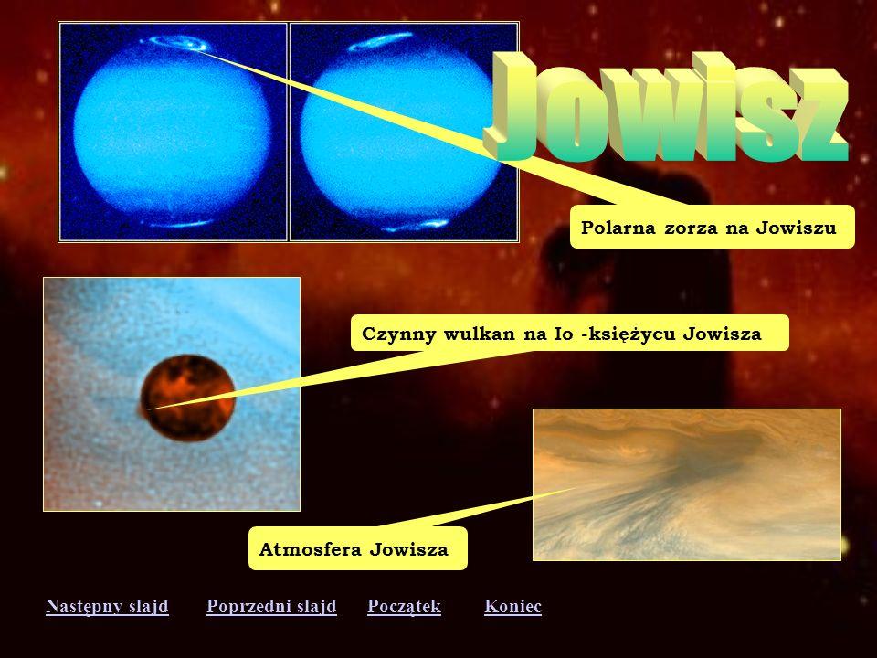 Następny slajdPoprzedni slajdKoniecPoczątek Wielka Czerwona Plama Księżyce na tle Jowisza
