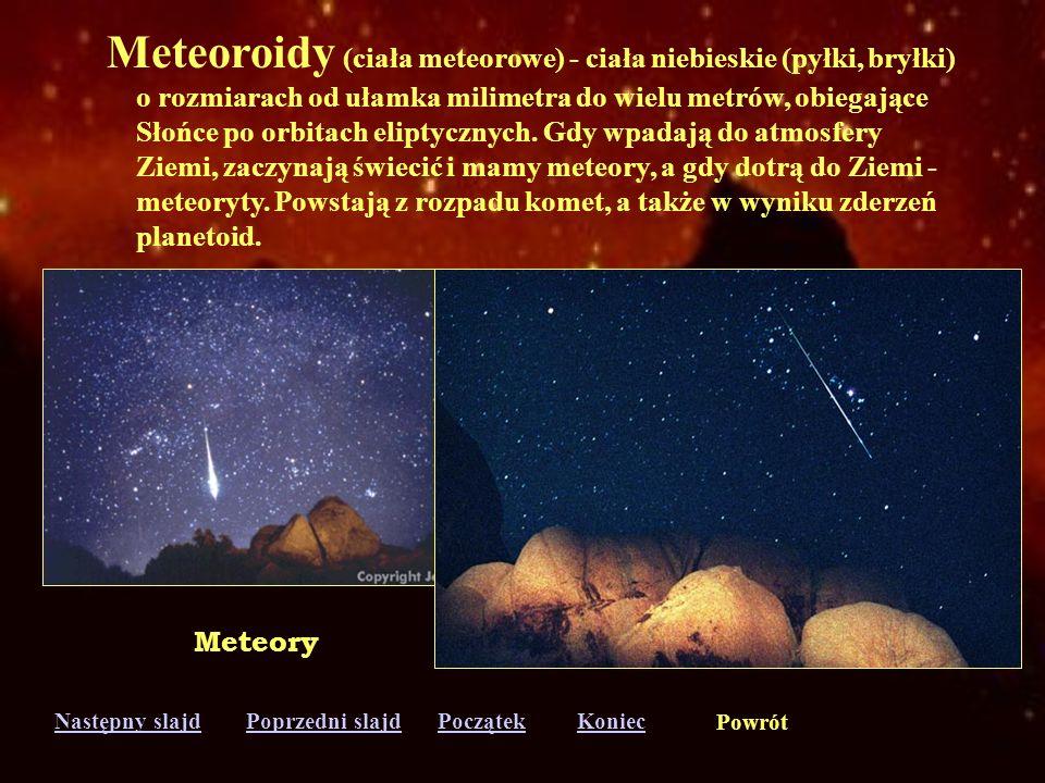 Następny slajdPoprzedni slajdKoniecPoczątek Powrót Księżyce (satelity) - ciała niebieskie obiegające planety. W Układzie Słonecznym jest ich 61. Titan