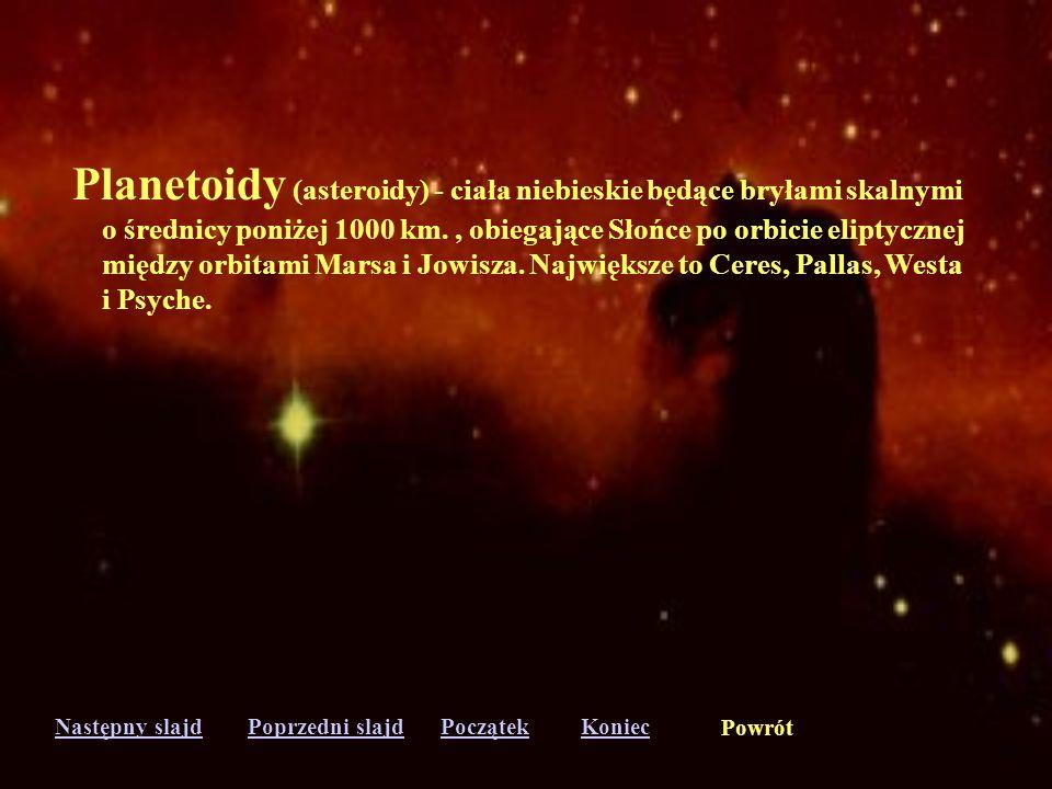 Następny slajdPoprzedni slajdKoniecPoczątek Powrót Orbita - tor, po którym porusza się pod wpływem wzajemnego przyciągania jedno ciało względem drugie