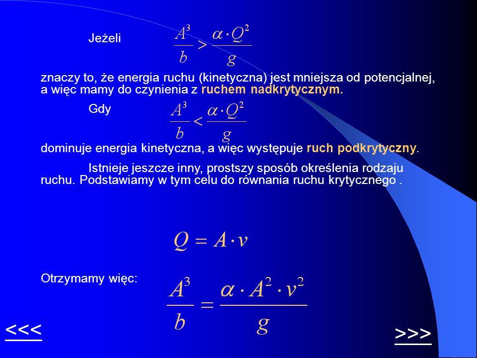 Jeżeli znaczy to, że energia ruchu (kinetyczna) jest mniejsza od potencjalnej, a więc mamy do czynienia z ruchem nadkrytycznym. Gdy dominuje energia k