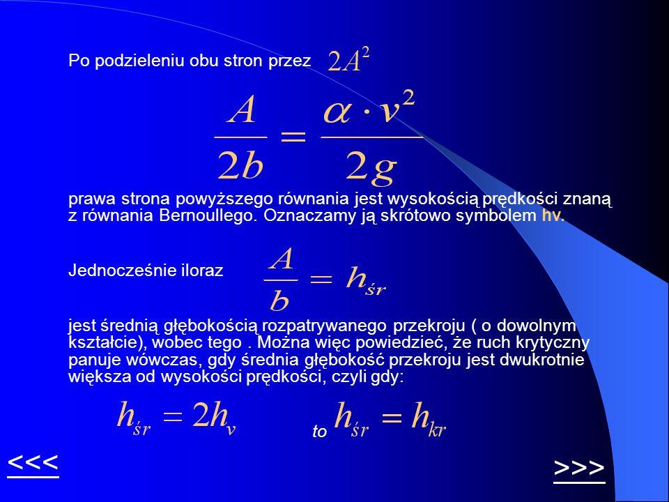 Po podzieleniu obu stron przez prawa strona powyższego równania jest wysokością prędkości znaną z równania Bernoullego. Oznaczamy ją skrótowo symbolem