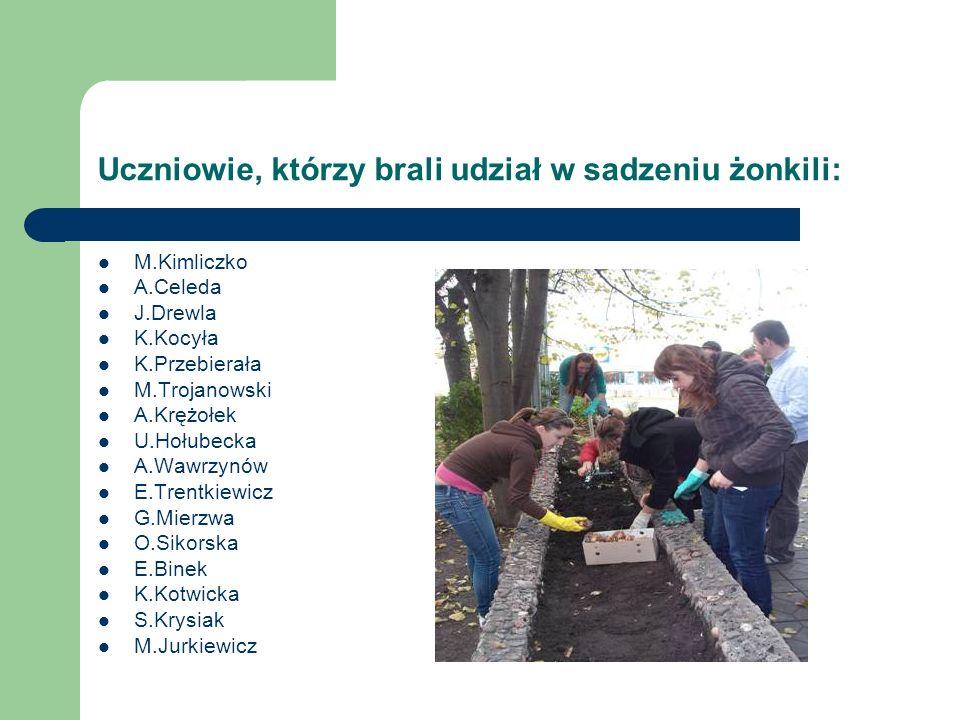Uczniowie, którzy brali udział w sadzeniu żonkili: M.Kimliczko A.Celeda J.Drewla K.Kocyła K.Przebierała M.Trojanowski A.Krężołek U.Hołubecka A.Wawrzyn