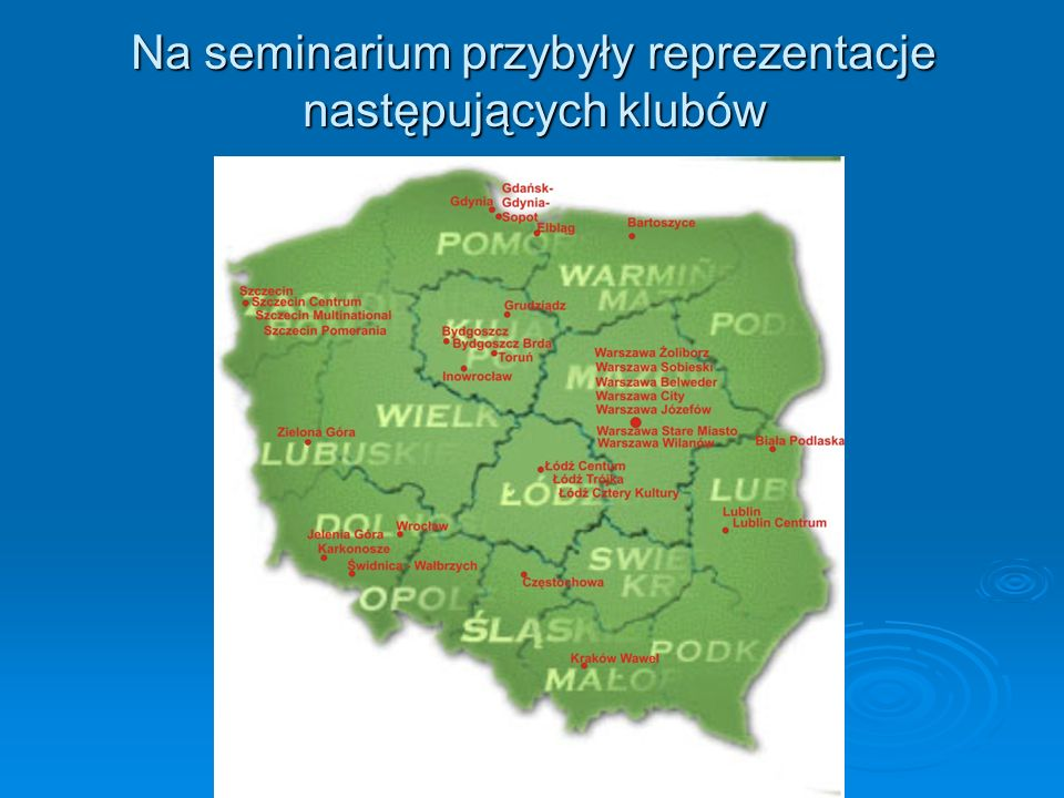 Gubernator Dystryktu 2230 Tadeusz Płuziński – jako osoba przewodząca obradom – został przywitany przez przedstawicielkę władz samorządowych - Prezydent Grudziądza Panią Mariolę Sokołowską.