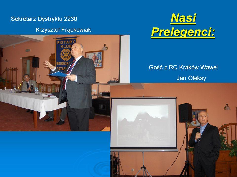 Nasi Prelegenci: Sekretarz Dystryktu 2230 Krzysztof Frąckowiak Gość z RC Kraków Wawel Jan Oleksy