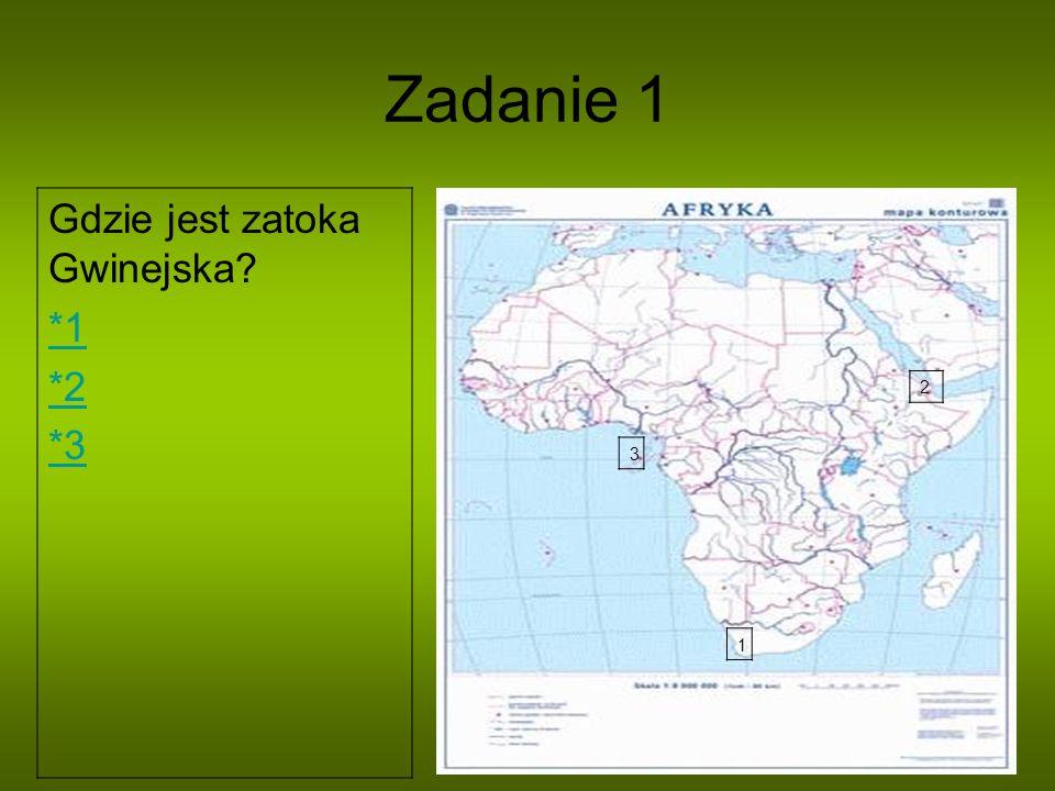 Zadanie 1 1 2 3 Gdzie jest zatoka Gwinejska? *1 *2 *3